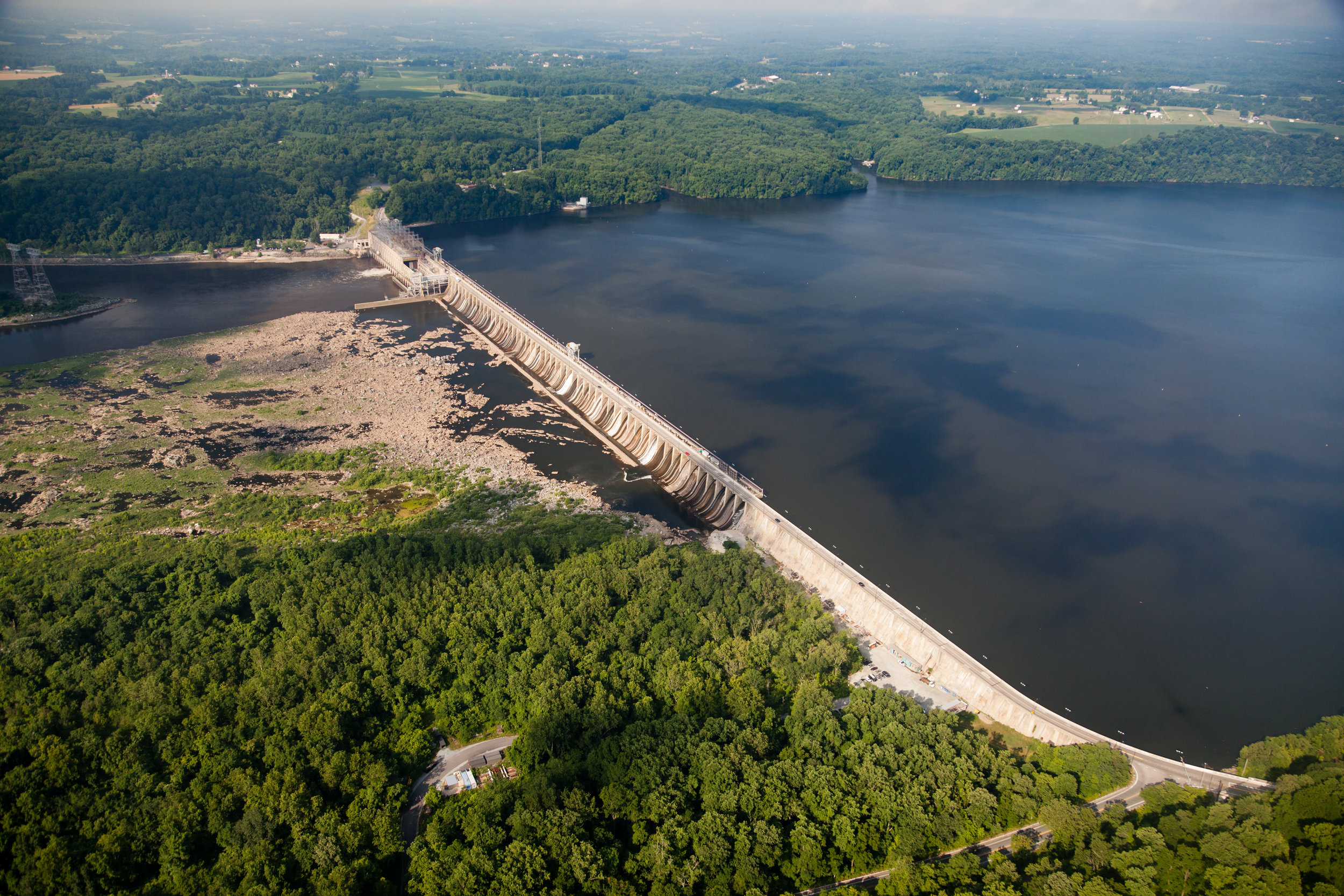 The Susquehanna River flows south past Conowingo Dam, toward Havre de Grace, Md., on June 27, 2016. Photo Credit: Chesapeake Bay Program