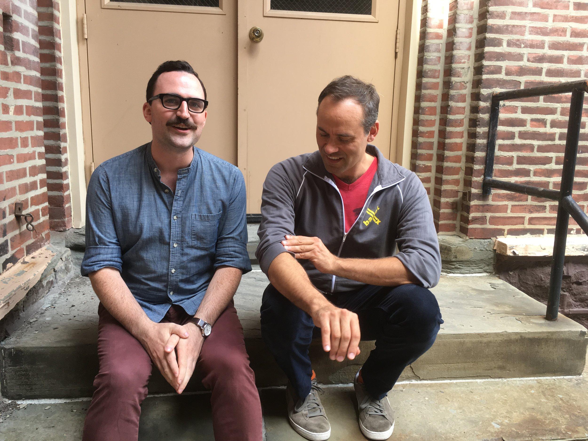 Dan O'Neil and Dito van Reigersberg on a break during  Buyer & Cellar  rehearsal.