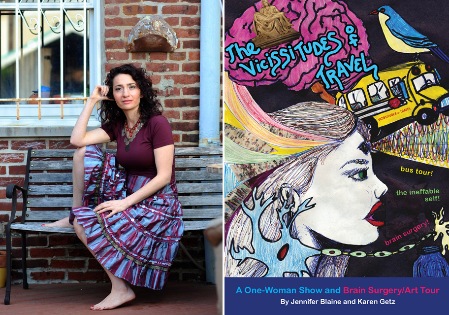 Jennifer Blaine photo by Jeff Fusco.  The Vicissitudes of Travel  poster design by Emily Morris.