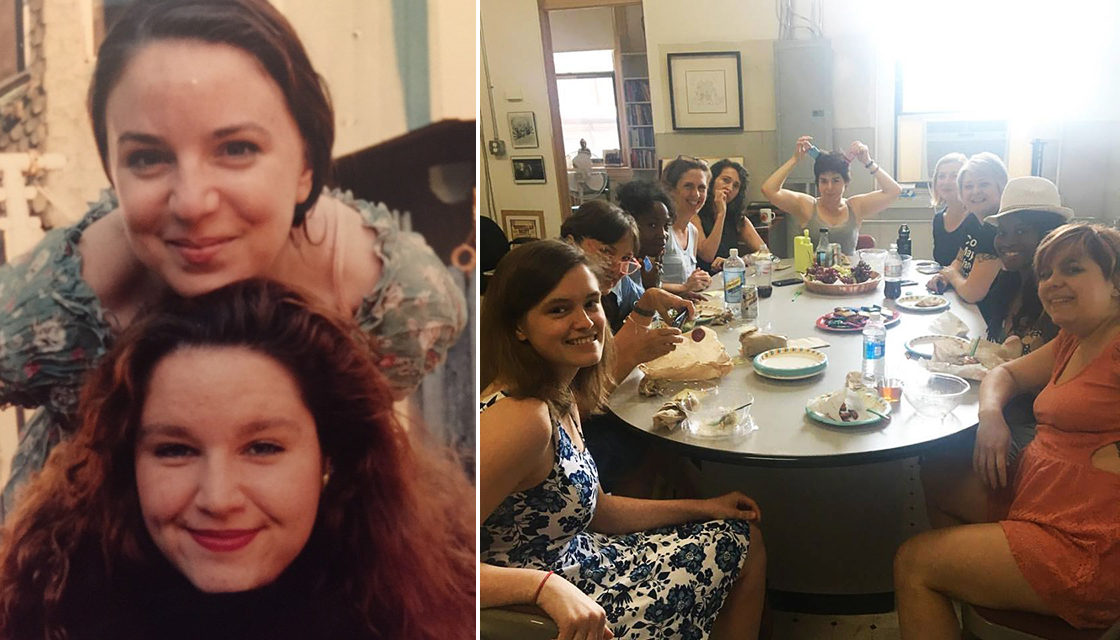 Left: Grace Gonglewski and Jilline Ringle. Right: The residents of the Jilline Ringle Solo Performance Program, 2017. (Jennifer Blaine with her collaborator Karen Getz, Rahnda Rize with her collaborator Medea Brooks, Kristin Finger with her collaborator Mary Carpenter, and Jess Conda and her collaborator Mary Tuomanen.)