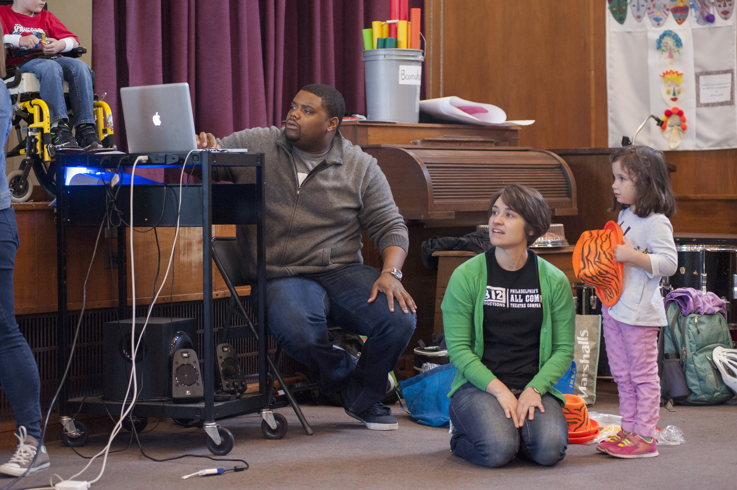 Actor/ Educator Nick Parker with Education Director Marla Burkholder at the Widener Memorial School year-end student performance through 1812 Outreach. May, 2017. Photo by John Flak.