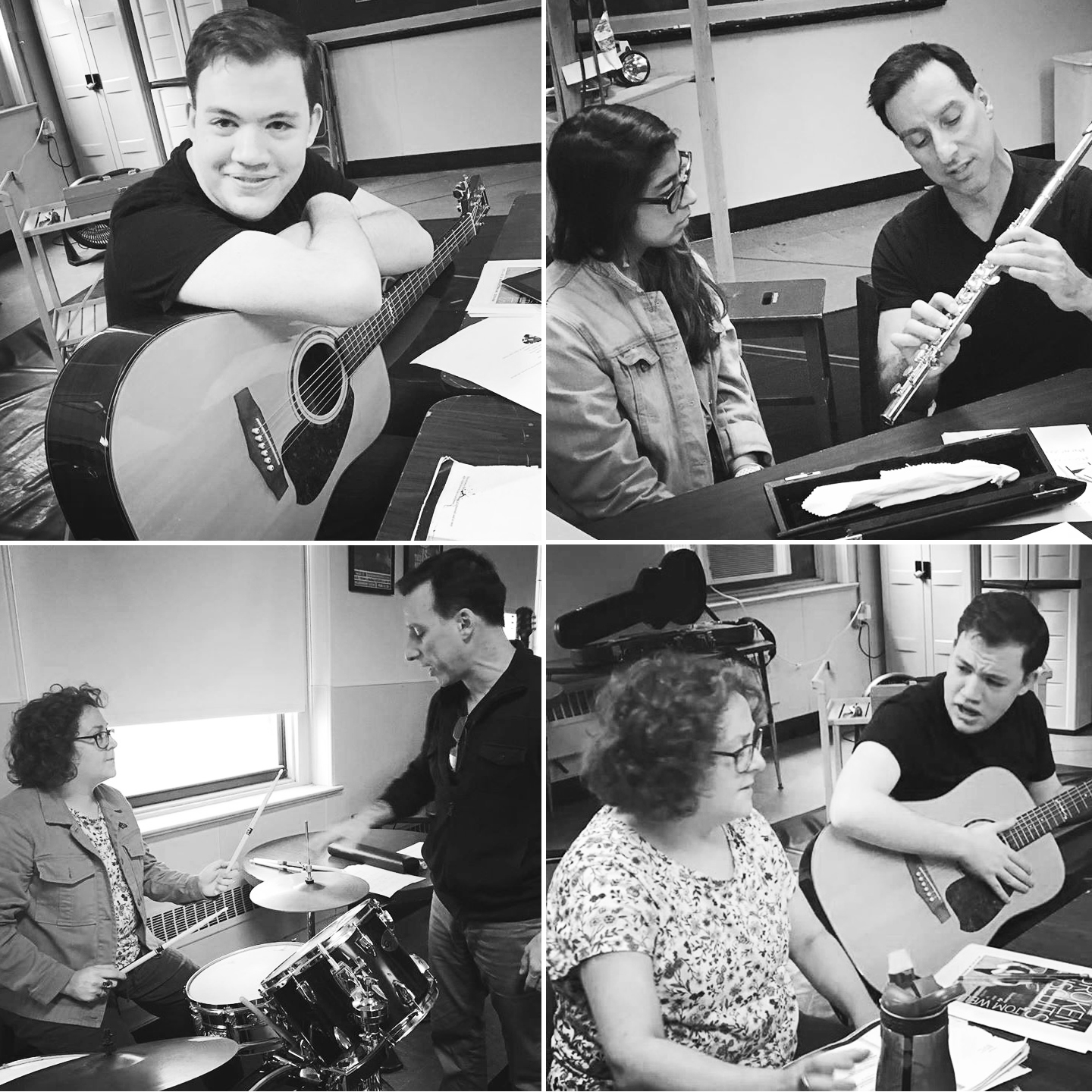 Dave Jadico and the cast of  Broken Biscuits  (Clockwise from top left: Michael Macri, Leigha Kato, Amanda Jill Robinson). Photos by Christopher Colucci.