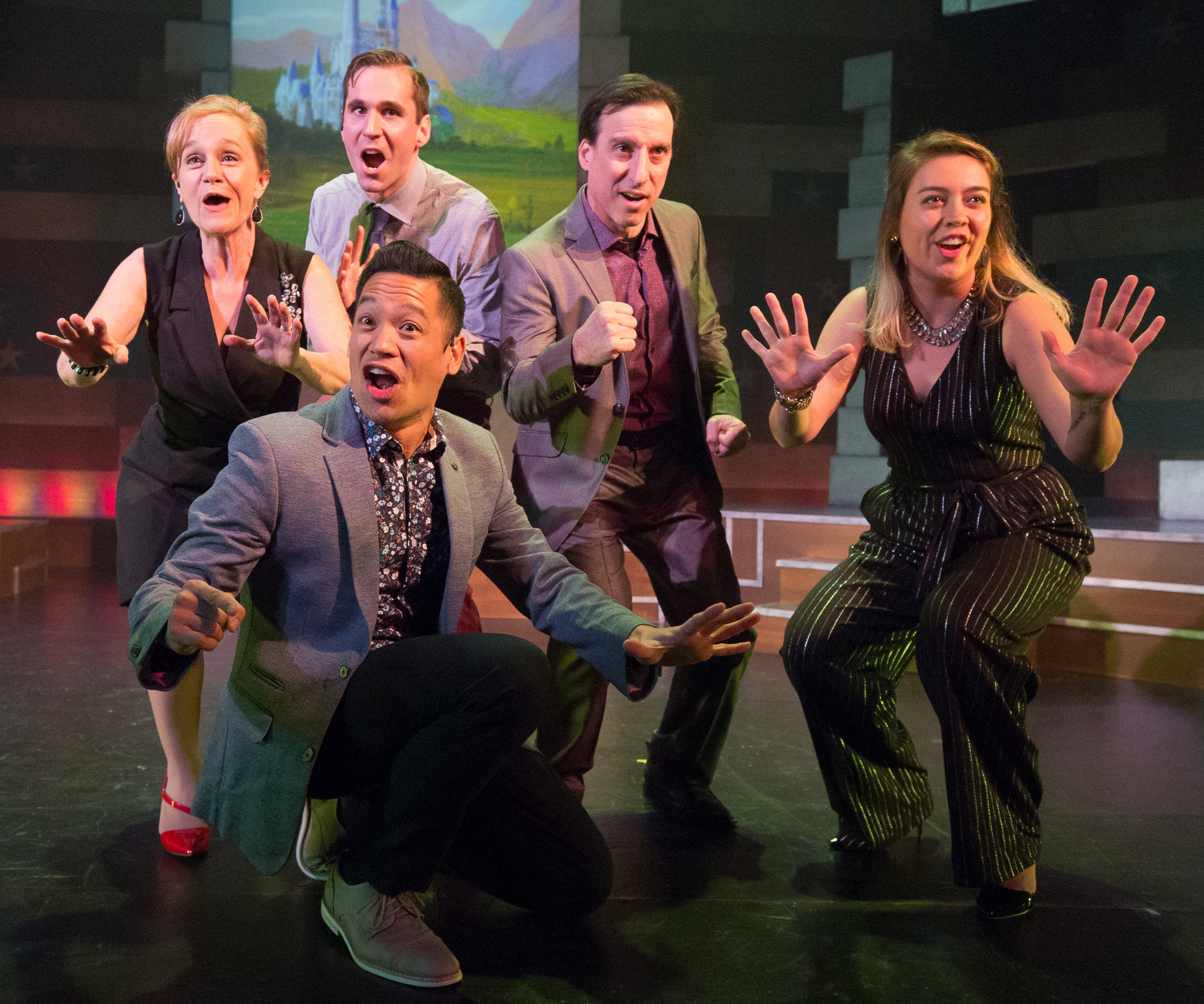 1812 Productions presents  This Is The Week That Is . Pictured (l-r): Jennifer Childs, Sean Close, Justin Jain (kneeling), Dave Jadico, Tanaquil Márquez. Photo by: Mark Garvin