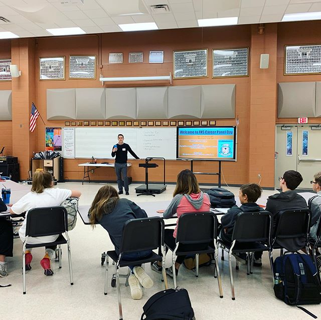 ¼ of Huckleberry Groove got to hang out at Fenton High School today and talk about what we do when we're not playing tunes with each other. We also... played a tune with each other. Because if ¼ of Huckleberry Groove is together and there's no music, did it even really happen? #thanksmrconatan #veryprofessional #workinyourjammies  PS - we still don't know what @itskeithpople does.