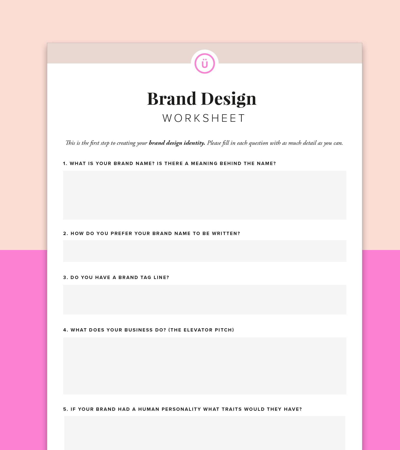 brand identity design WORKSHEET
