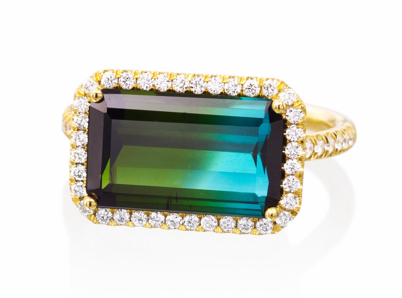 Mischa ring with 4.58 ct. bi-color tourmaline and 0.35 ct. t.w. diamonds in 18K yellow gold