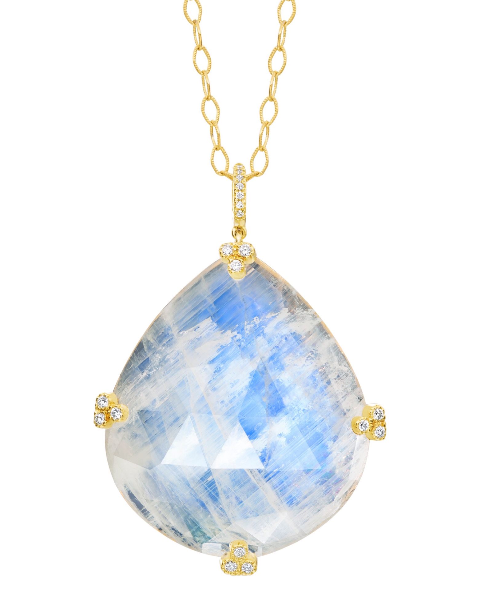 Sophie pendant with 84.64 ct. rainbow moonstone and 0.29 ct. t.w diamonds in 18K yellow gold