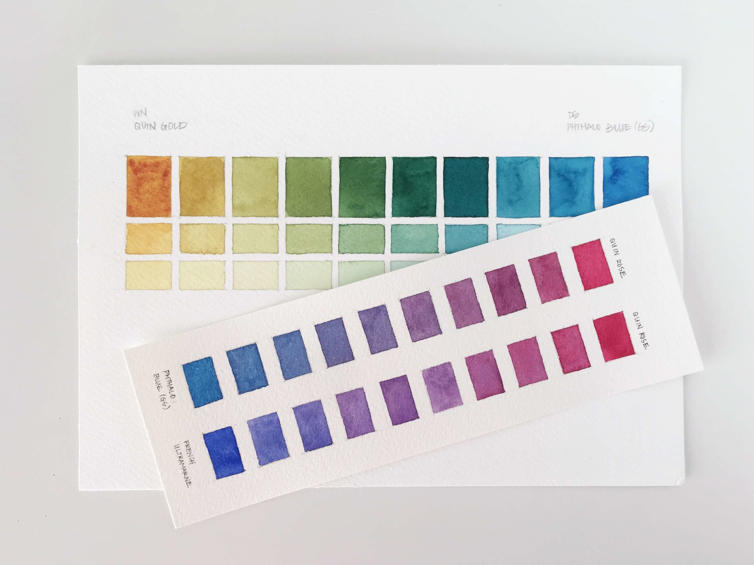 Watercolor Two Color Mixing Charts