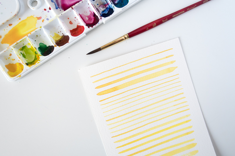 Watercolor Brush Stroke Exercise: Straight Lines