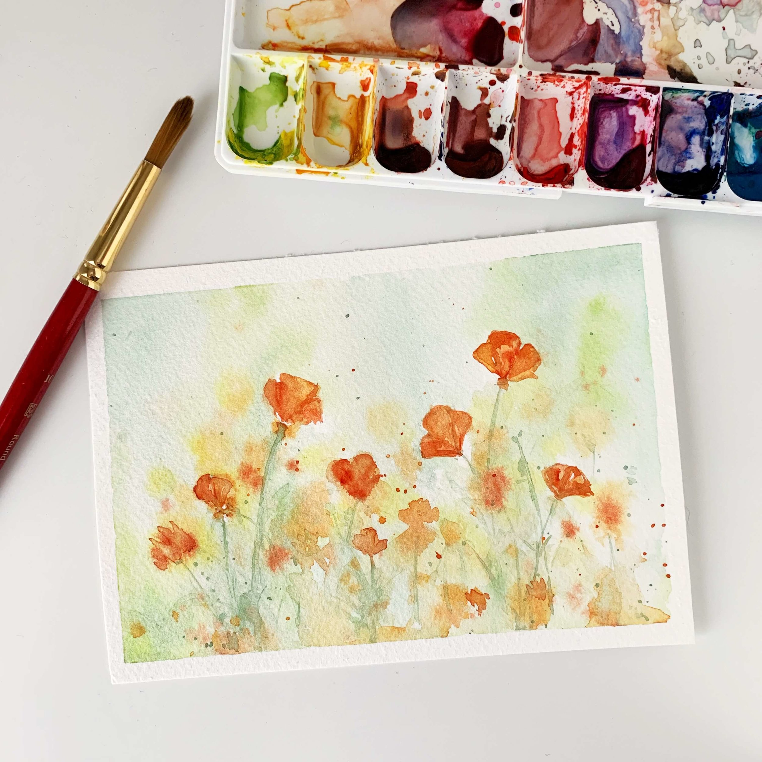 Watercolor California Poppies