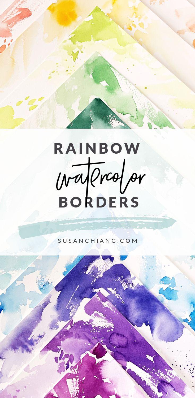 Rainbow Watercolor Borders Pinterest