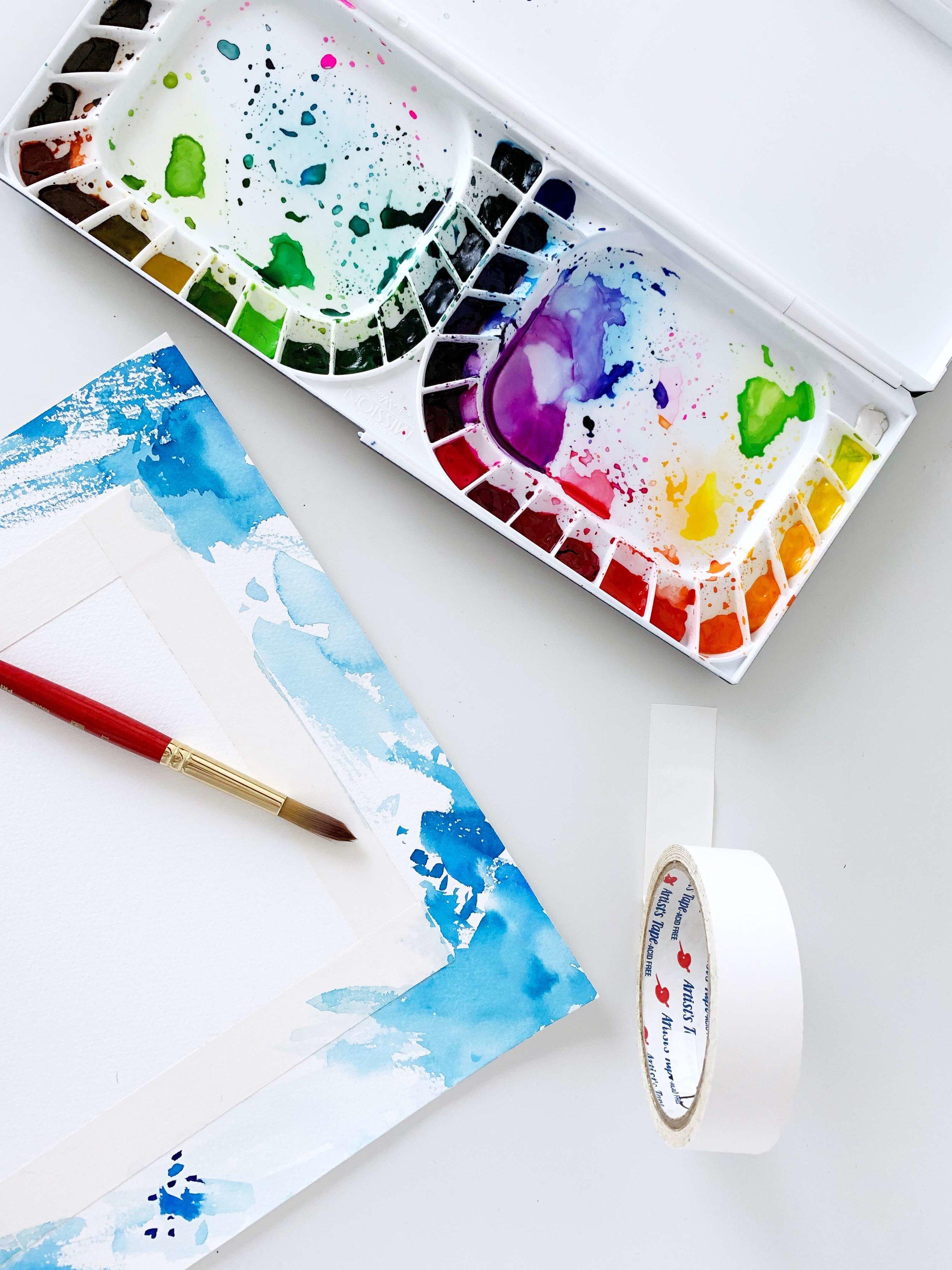 Rainbow Watercolor Border Supplies