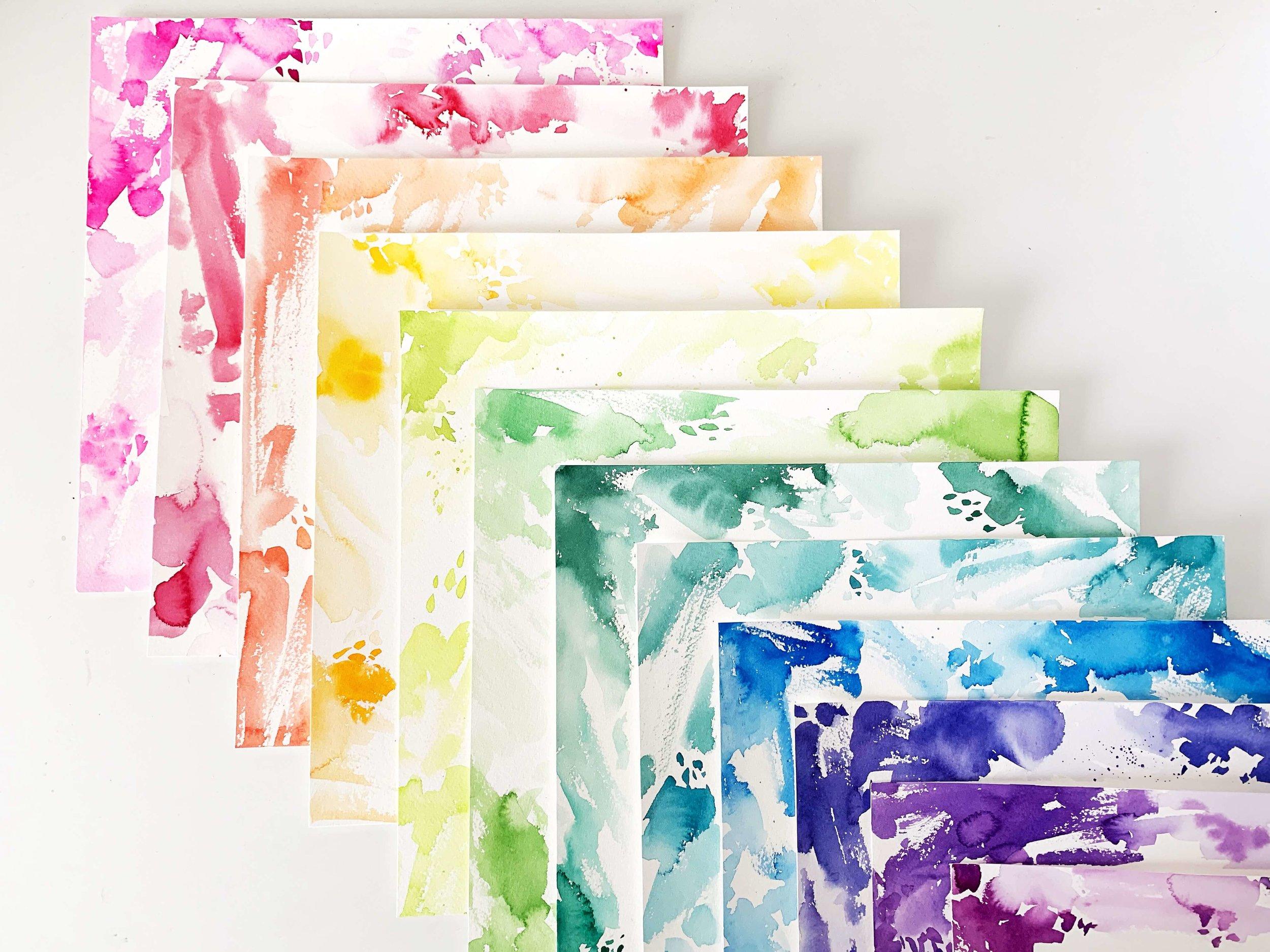 Rainbow Watercolor Borders