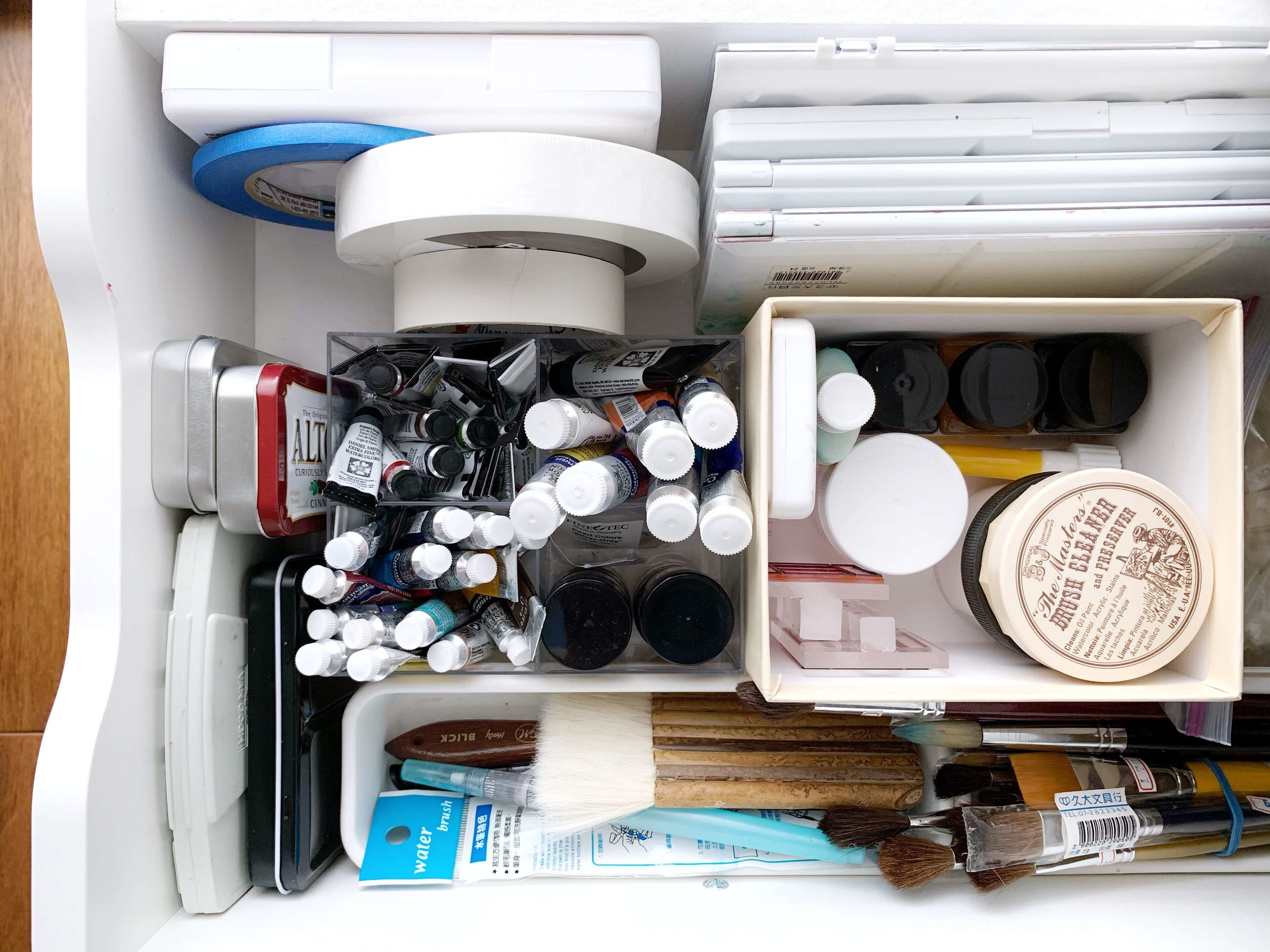 watercolor art supply drawer