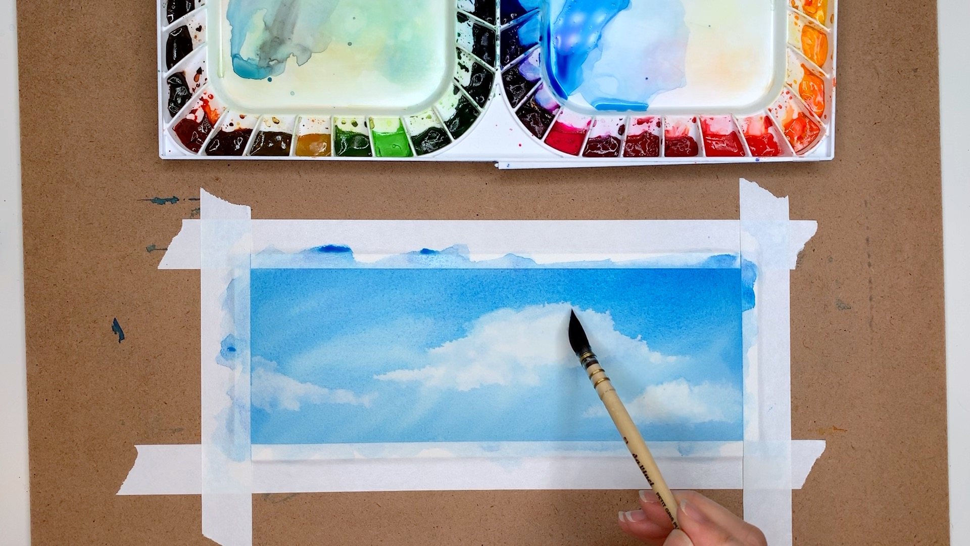 Watercolor Blue Sky and Clouds
