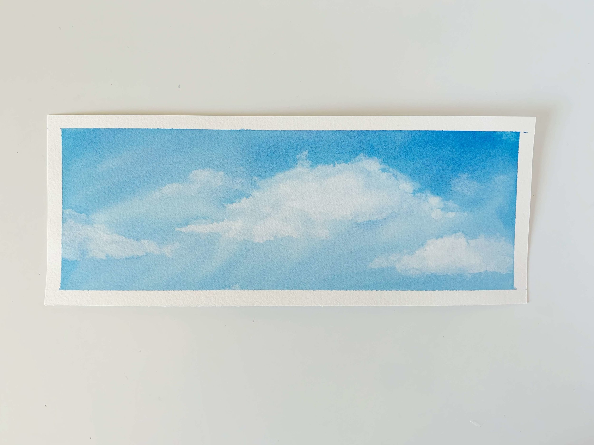 Watercolor Cobalt Blue Sky and Clouds
