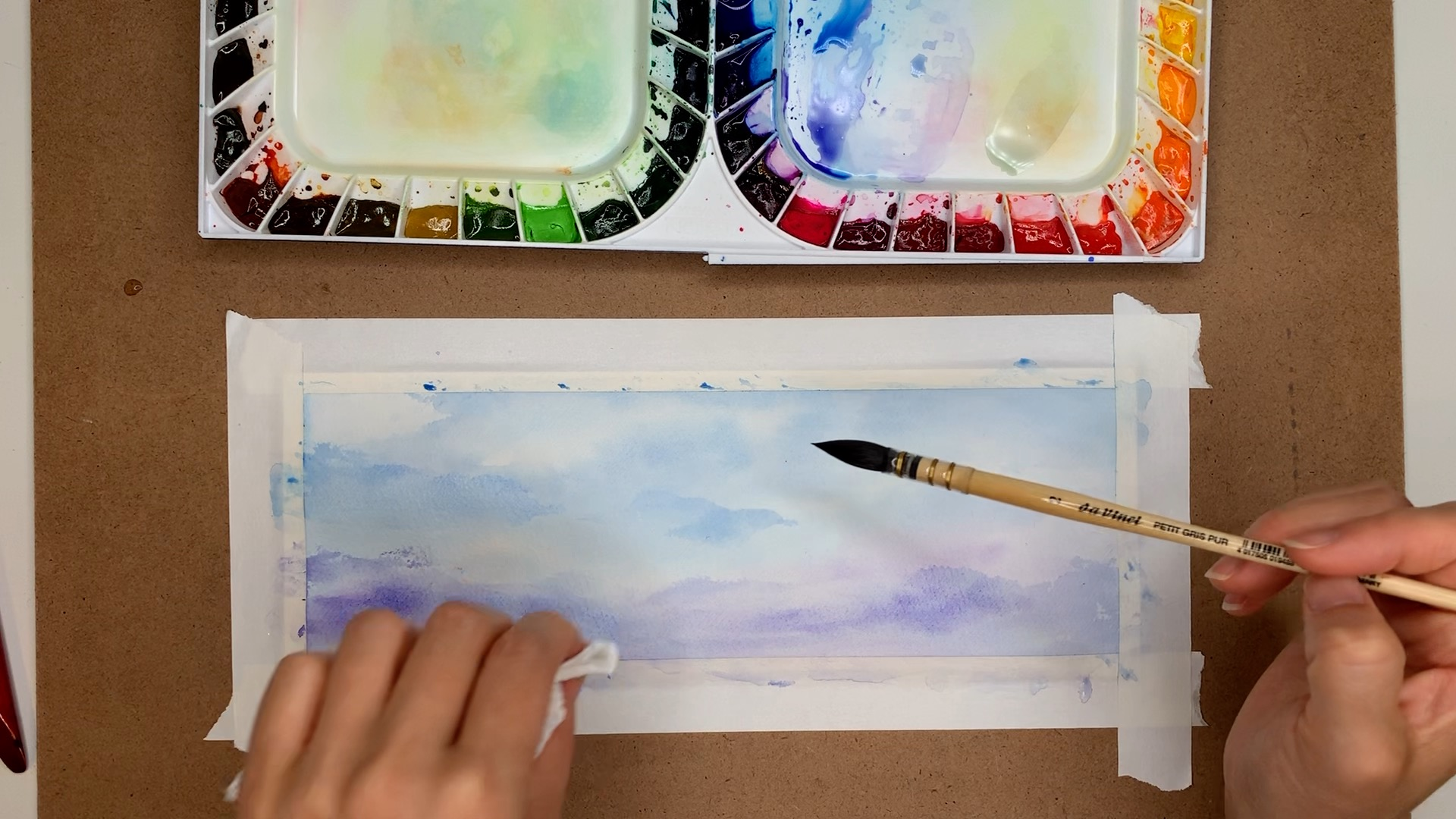Watercolor Gradient Purple Sky