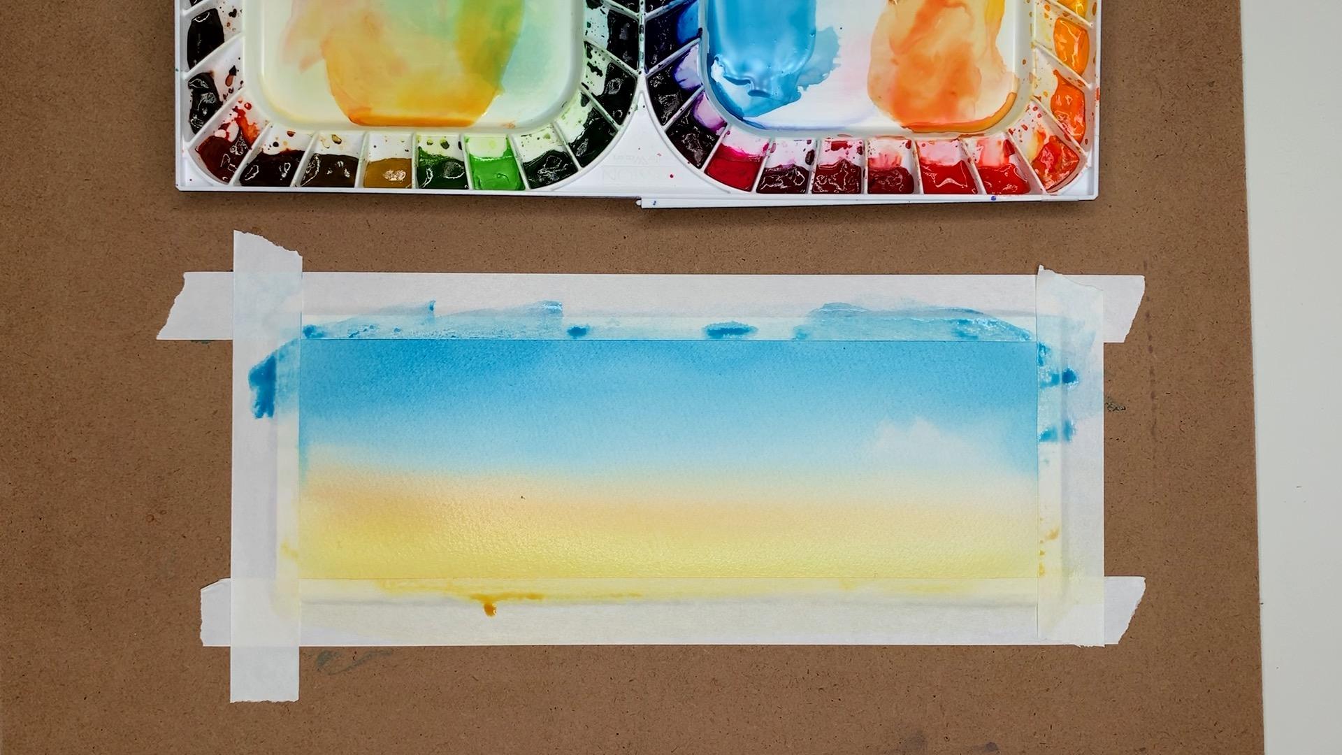 Watercolor Gradient Orange Sky Step 1