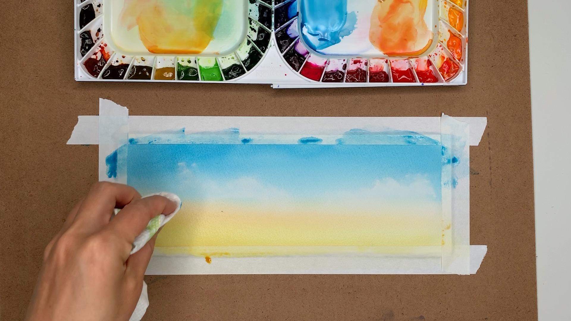 Watercolor Gradient Orange Sky Step 2
