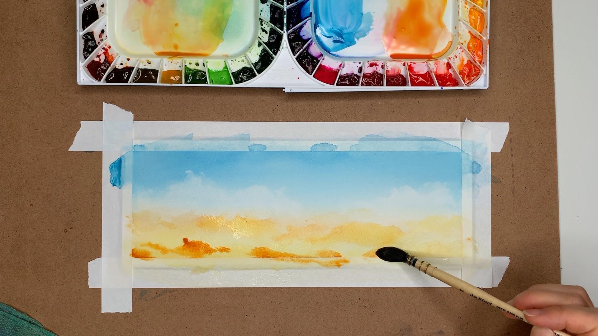 Watercolor Gradient Orange Sky Step 3