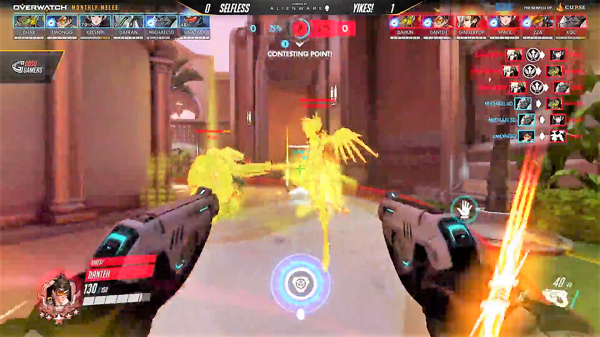 Gingerpop, looking like the best Mercy currently, resurrecting teammates to win a fight.