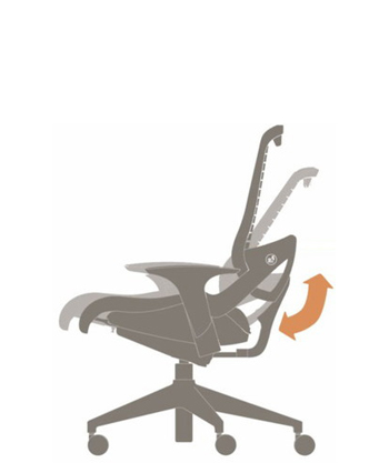 There is no tension knob or traditional back angle lock necessary. The specifically calibrated geometry of the OM5 does the work of balancing your body's weight throughout the chair's recline.  Simply lean back using your hips, and rest your back at any position without the need for a locking paddle. And when you want to move again, just move.