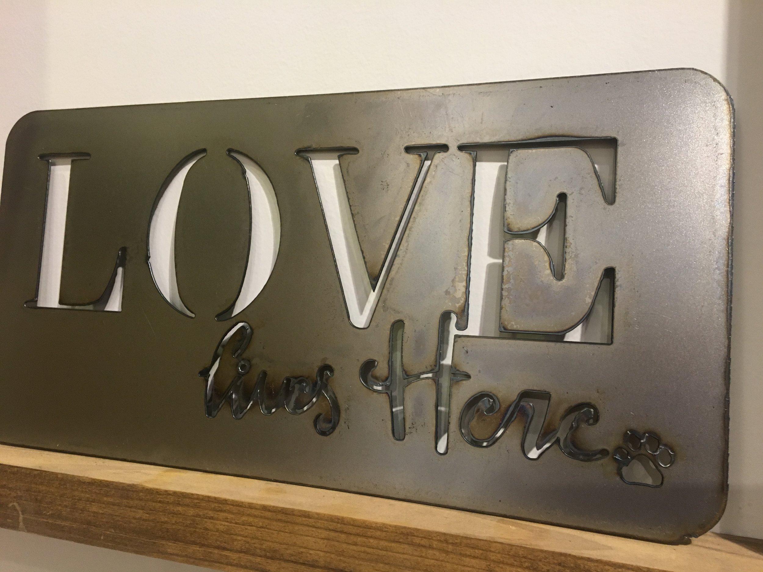 Love Lives Here w paw - LP, PM.JPG