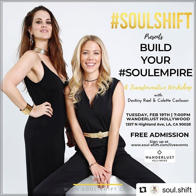 We are almost #SOULed out....seriously!! So SIGN UP now (link in bio) and its FREE! ・・・ Get ready to Build Your #SOULEMPIRE??!! 🌟 We all have big goals, dreams and desires that we are striving to attain in the material world, but first we need to lay the groundwork and building blocks from our inner world. 🌟 Join us @soul.shift for our first workshop of the year... and it's FREE!!! What do YOU want to build the FOUNDATION of your life on? IS YOUR EMPIRE built from your #soul? Are YOU ready to grow your SPIRITUAL wealth based on your inner riches? Are looking for fulfillment in your career, relationships, love, finances, health and/or your spiritual life? ARE YOU ready for #soul empowerment?? 🌟 In this workshop you will discover what you TRULY value and how you can TRANSFORM your life from the INSIDE OUT.  You will discover more purpose, clarity and direction to get to your #souldestination. 🌟 We will help you reconnect with yourself, get to the depth of the real you and work #soulward out to BUILD YOUR #SOULEMPIRE 🌟 Follow link in Bio to Sign up! 02/19 7-10pm Wanderlust Hollywood.  Free Admission. (Street Parking, Lyft or Uber) 🌟@Wanderlusthlwd WHAT YOU WILL RECEIVE: •An interactive workshop designed to take you #soulward out •Guided Life Coaching exercises and tools •Reiki healing, meditation and soundbath •A lighthearted way to go deep •Connect soul2soul with others in real conversations - #soultalk •A supportive, non-judgmental space to share •Forward movement in your life #SOULSHIFTS 🌟 Don't forget to sign up!! We look forward to #SOULSHIFTing with you!!! 👯♀️🙌🏼🌟 — #losangelesworkshop #selfhelpworkshop #freeworkshop #lifecoaching #lifecoachlosangeles #reikilosangeles #soundbathlosangeles #freesoundbath #reiki #soundbath #transformationalcoach #wanderlusthollywood #lifecoach #empire #spiritual #wealth — 📸 by @ajarinahitomi