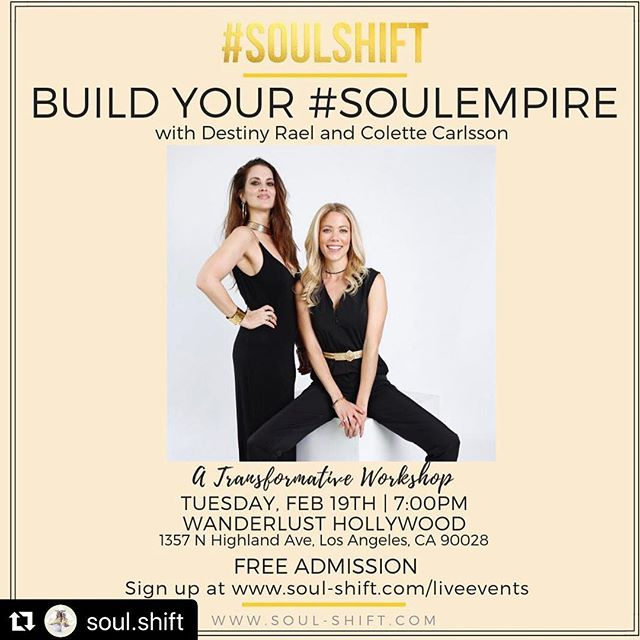 Join us @soul.shift where myself and @theyoupower offer our first workshop of the year..... and its FREE!! BUILD YOUR #SOULEMPIRE !  A powerful, transformative workshop blending life coaching, reiki and soundbath meditation to discover the #SOUL of your #DESTINY!! ✨ We all have big goals, dreams and desires that we are striving to attain in the material world, but first we need to lay the groundwork and building blocks from our inner world. 🌟 What do YOU want to build the FOUNDATION of your life on? IS YOUR EMPIRE built from your #soul? Are YOU ready to grow your SPIRITUAL wealth based on your inner riches? Are looking for fulfillment in your career, relationships, love, finances, health and/or your spiritual life? ARE YOU ready for #soul empowerment?? 🌟 In this workshop you will discover what you TRULY value and how you can TRANSFORM your life from the INSIDE OUT.  You will discover more purpose, clarity and direction to get to your #souldestination. 🌟 We will help you reconnect with yourself, get to the depth of the real you and work #soulward out to BUILD YOUR #SOULEMPIRE 🌟 Follow link in Bio to Sign up! 02/19 7-10pm Wanderlust Hollywood.  Free Admission. (Street Parking, Lyft or Uber) 🌟@Wanderlusthlwd WHAT YOU WILL RECEIVE An interactive workshop designed to take you #soulward out Guided Life Coaching exercises and tools Reiki healing, meditation and soundbath A lighthearted way to go deep Connect soul2soul with others in real conversations - #soultalk A supportive, non-judgmental space to share Forward movement in your life #SOULSHIFTS 🌟 Don't forget to sign up!! We look forward to #SOULSHIFTing with you!!! 👯♀️🙌🏼🌟 — #losangelesworkshop #yourdestinyismydestiny #selfhelpworkshop #freeworkshop #lifecoaching #lifecoachlosangeles #reikilosangeles #soundbathlosangeles #reiki #transformationalcoach #wanderlusthollywood #lifecoach #empire #spiritual #wealth #inspiration #connection #soul #transformation #purpose #clarity #2019