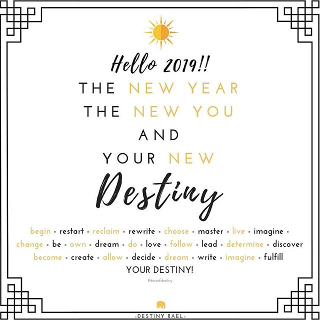 """2019 is HERE for you to continue to fill in the blanks of YOUR DESTINY!!! ✨ To expand, grow, release, try, heal, grieve, live, love and MORE...all are a part of YOUR journey of expansion to your highest self..and DESTINY!! Today and ANY day of year, can present an opportunity to become MORE of who YOU are.....whether in joy or grief...(from personal experience, I know this to be true)!🌟 -- ✨ little #doseofdestiny for #2019 - I encourage instead of setting """"new year resolutions"""" ... ask yourself.. how do you want to FEEL??? Your new START is to get to the HEART of what you want!! Get to the WHY!For example & keeping it simple...If your """" NY resolution"""" is to """"lose 10 pounds""""or """"start going to the gym""""...before you hire that trainer or get the membership...go a little deeper...explore WHY you want to lose 10 pounds, how you want to FEEL by losing the weight, how you want to see your BEST self, what you might need to DO or BE to get there.You might come to find you don't even like gyms, have always wanted to be a tennis pro, start taking lessons and end up getting in the best shape of your life.I promise when you get to what is really behind your desire...and the HEART of the matter, your """"resolutions"""" will be natural to you.A lot of times, it isn't so much about the action as it is about changing your thoughts and beliefs potentially holding you back, shifting perspectives, connecting to the truth of your desires and identifying YOUR true values AND THEN and only then... take action!! THEN set goals! YOUR LIFE will transform...and your DESTINY! -- ✨ If you really want get to the HEART of YOUR heart, I can help you!! Let's work together!I am offering the first session FREE.DM me or go to link in bio and contact me!!🌟🐘 -- ✨ May your 2019 be one of #meaning, #SOUL, #heart, #truth, #clarity, #expansion, #growth, #evolution and you become YOUR DESTINY more and more and more....🙌🏼✨💜🙏🏼❤️🐘🤗🌟"""