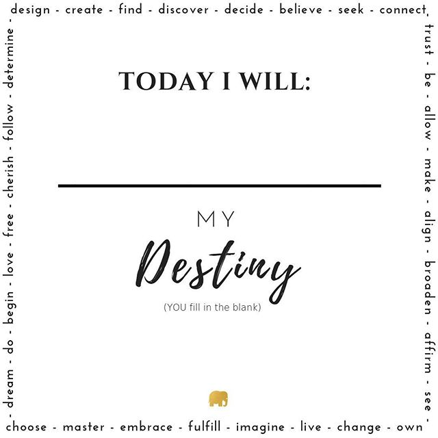 What are YOU willing to do TODAY towards your DESTINY?YOU always get to fill in the blank of your life… Every day is a new day to rise towards your DESTINY!Whether that is an action step by DOING…or an internal shift by BEING… you can start again and again, by becoming your truest self and living your highestDESTINY! 🙌🏼✨💛🚀 — SO…what is the ONE thing TODAY you are willing to do? Be? and/or Become to your DESTINY? — #destiny #yourdestinyismydestiny #Lifecoach #lifeguide #griefcoach #transformation #transition #life #selfdevelopment #growth #growthmindset #lifecoaching #inspiration 🌟💫🔮