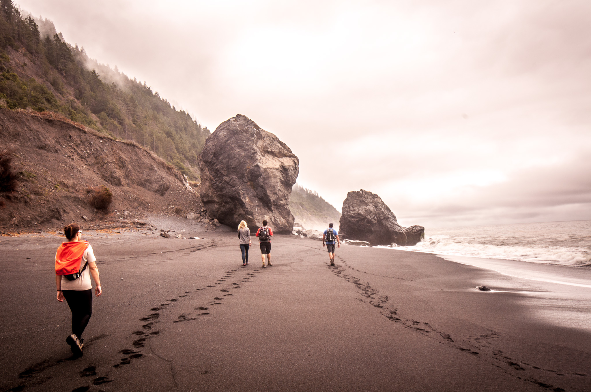 Reconnect with nature on desolate black sand beaches