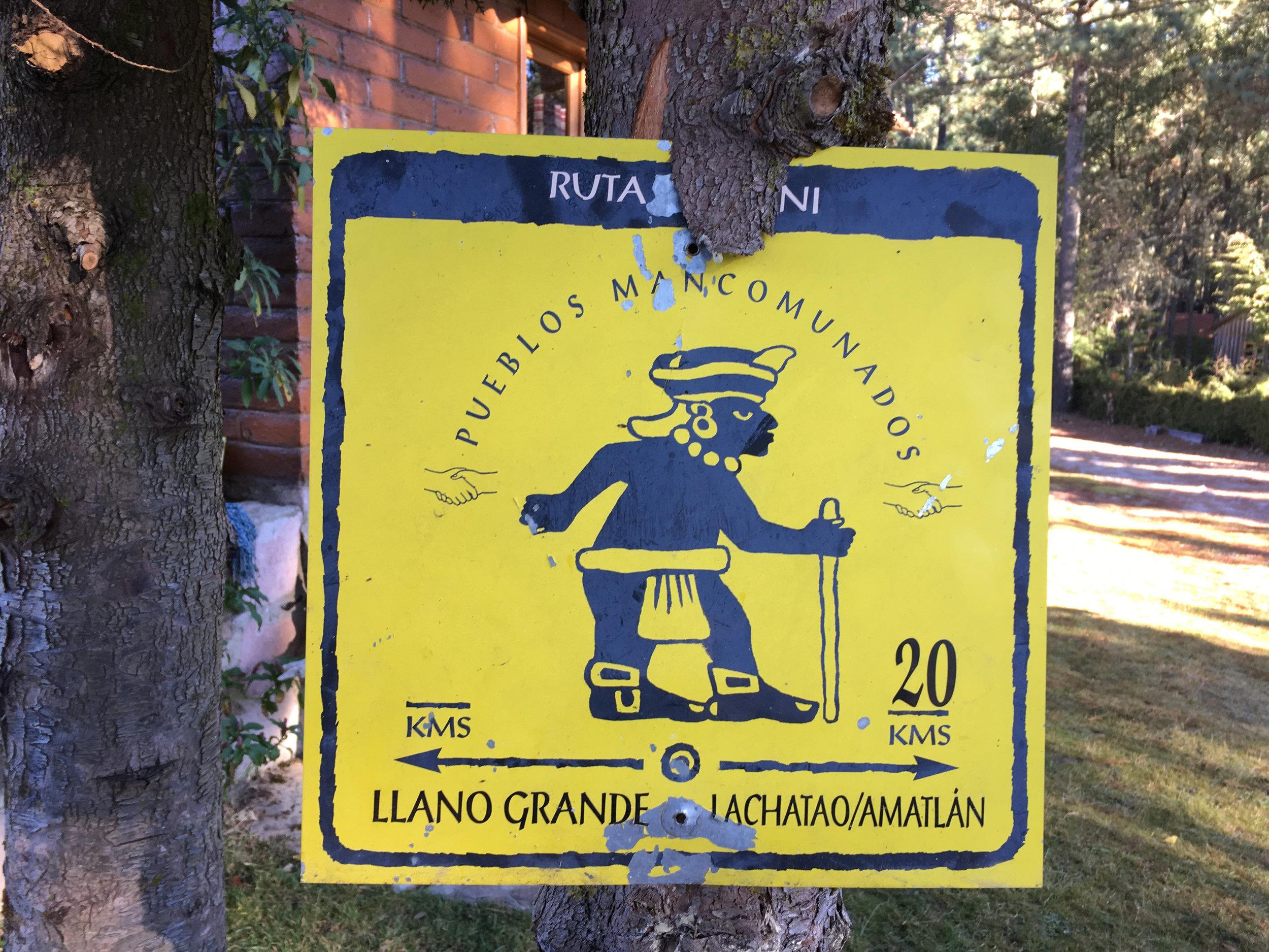 Llano Grande Mountain bike trail sign Oaxaca, Mexico tours