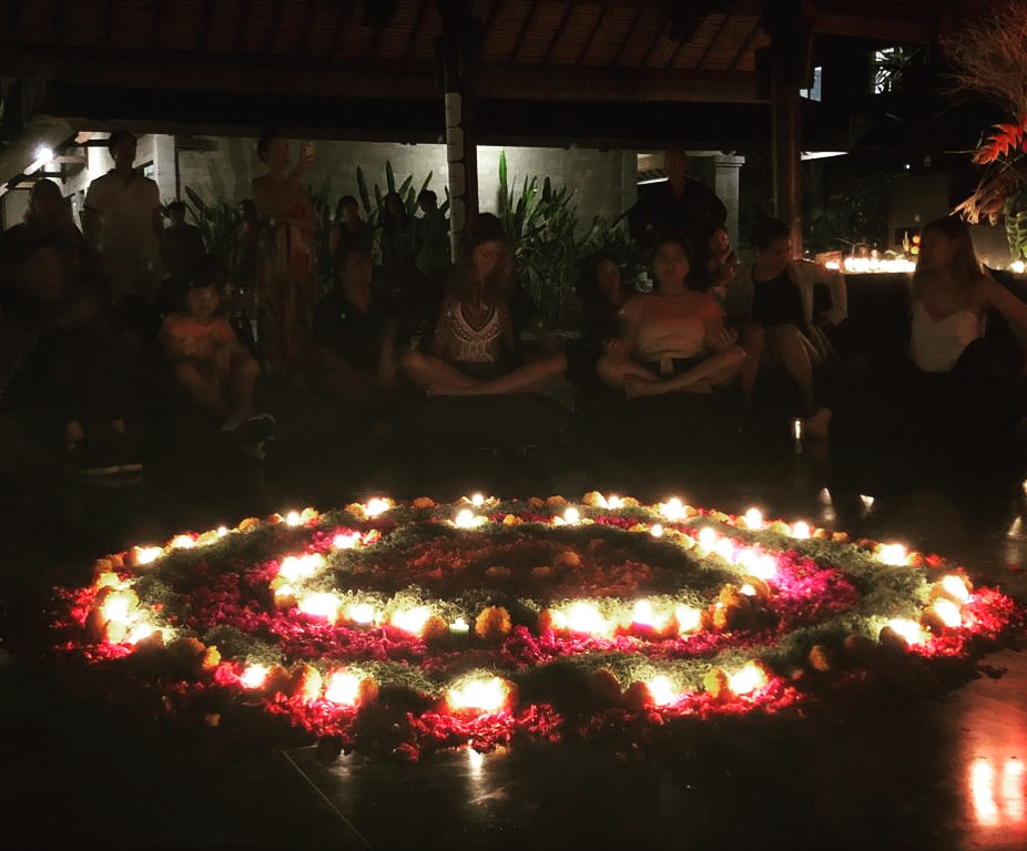 SPOTTER: Robert Holzer    WHERE: Bali, Indonesia   New community event Open Circles, introduced very rich and schedule for this year's event. There was food for soul, mind and spirit. One of the workshops was to design and build collective mandala, made of flowers and candles.