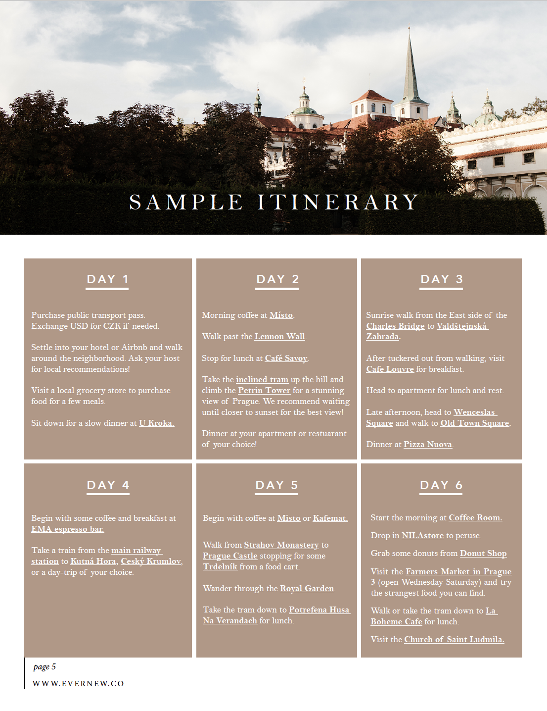 Sample Week Itinerary in Prague