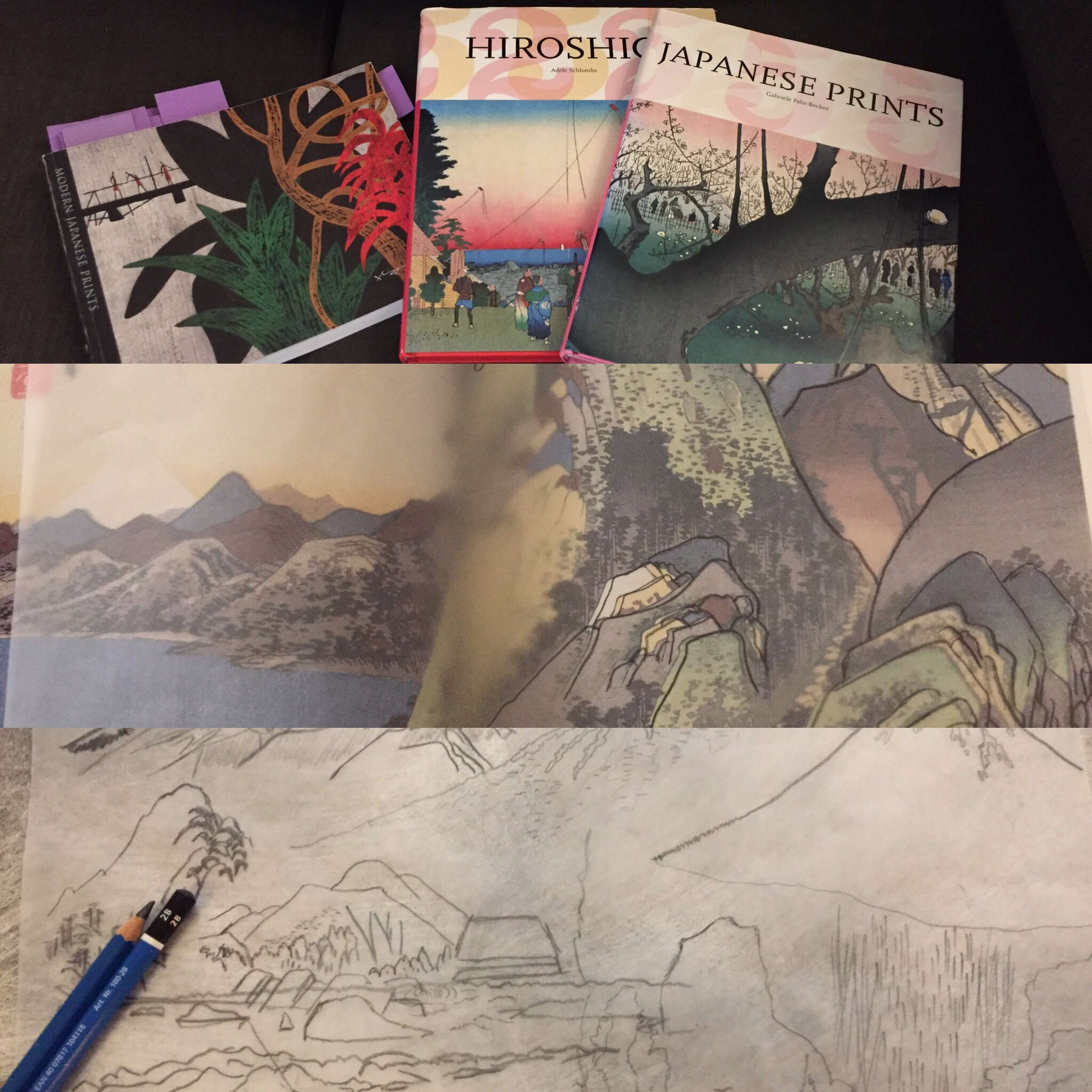 June 30/19 - Research for mountain collages with Japanese inspiration