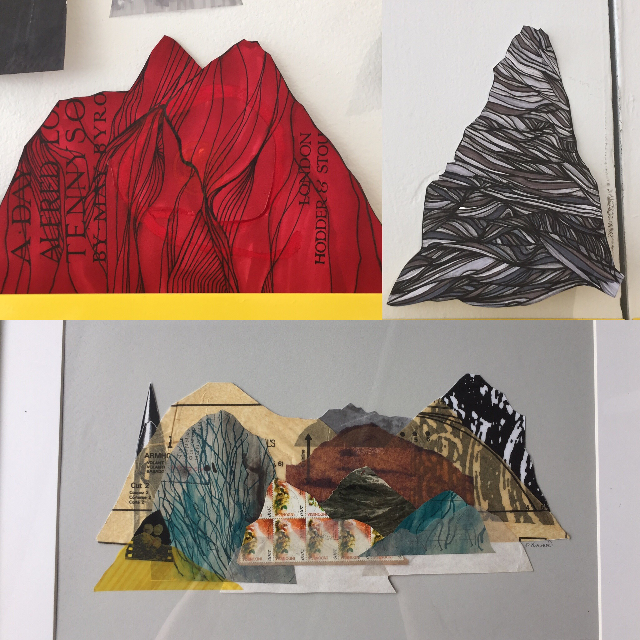 June 28/19 - Finished and framed, added yellow mountain on left, coloured drawings made previously.