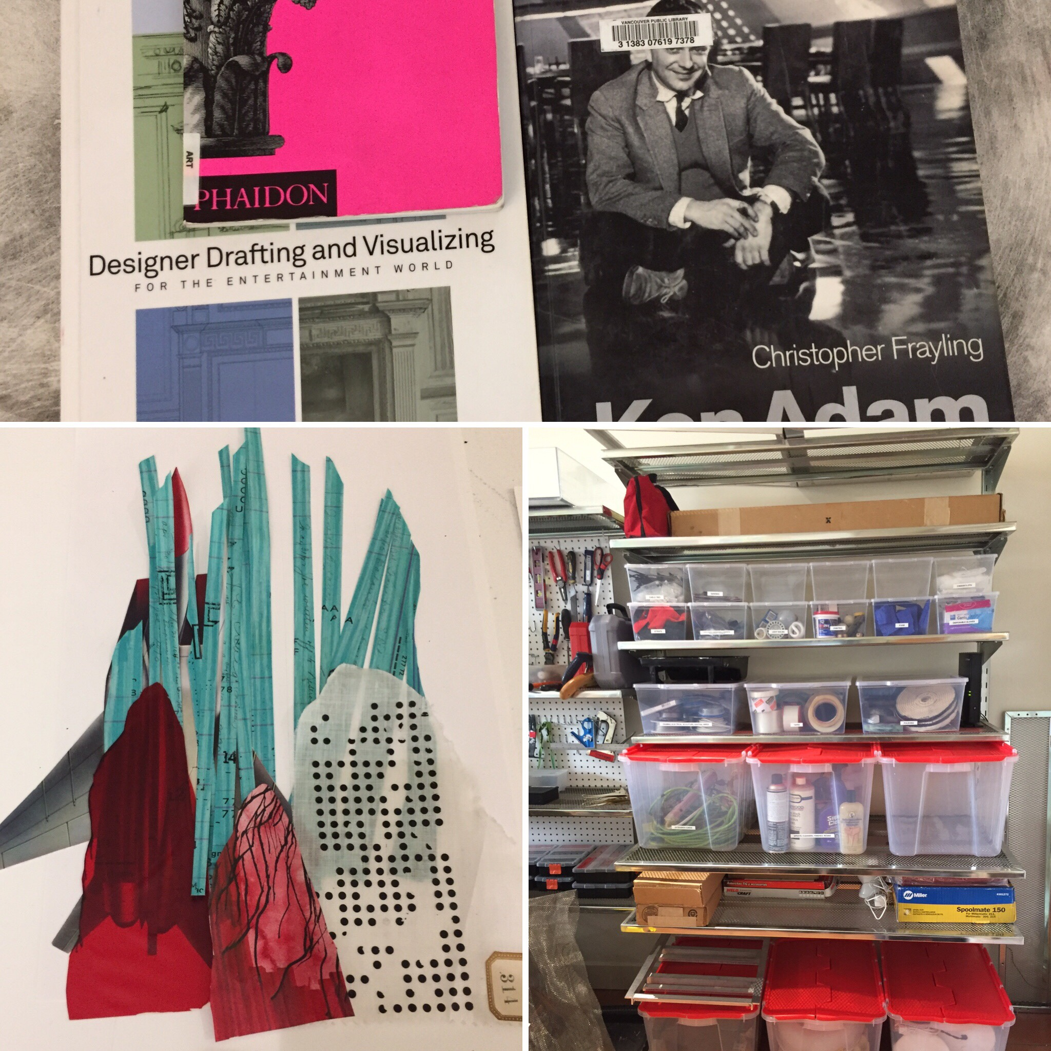 July 4/19 - Rode to library to pick up two books. Have been reading the Ken Adam book and his early life reads like a remarkable European film. Hurrah, got one shelf in workshop done! Happy with how this collage piece is going. Doesn't show how it's going to look.