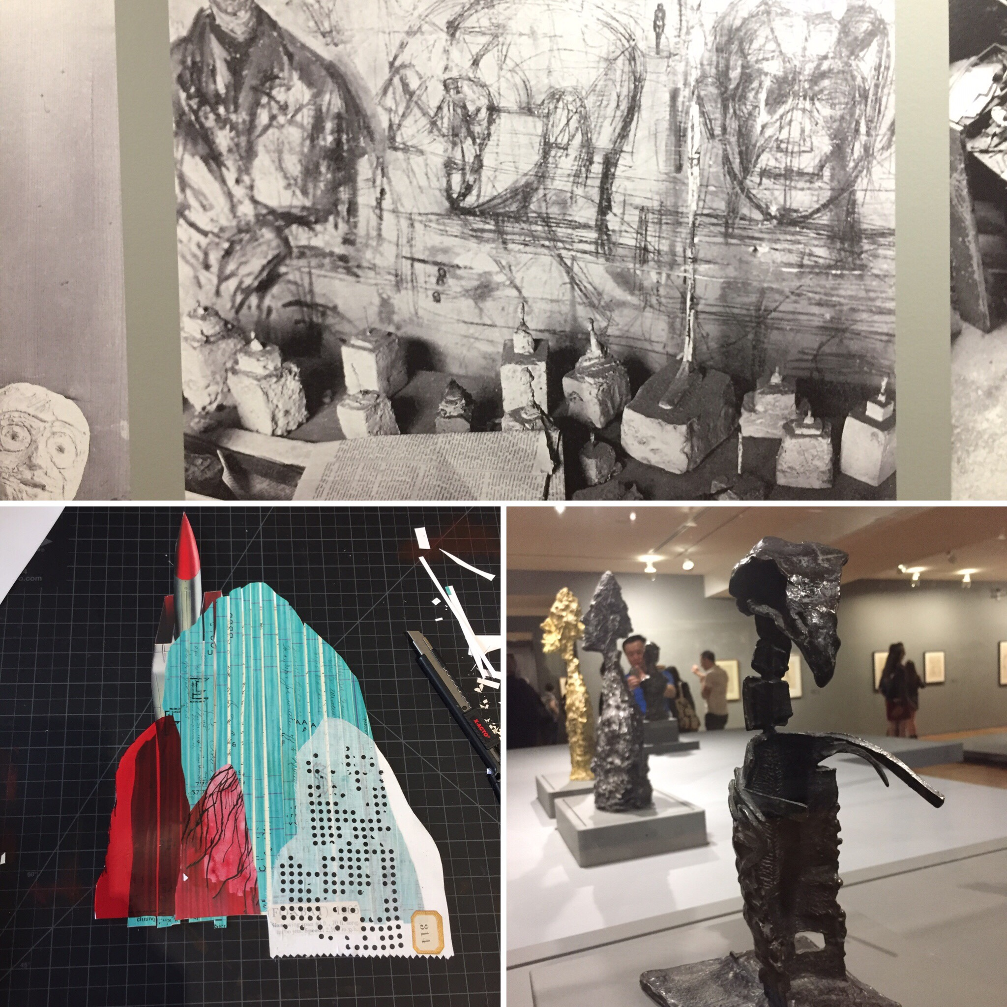 July 5/19 - Worked on/finished the thrust of this collage. Went to members opening of Alberto Giacometti, the images of the studio though!