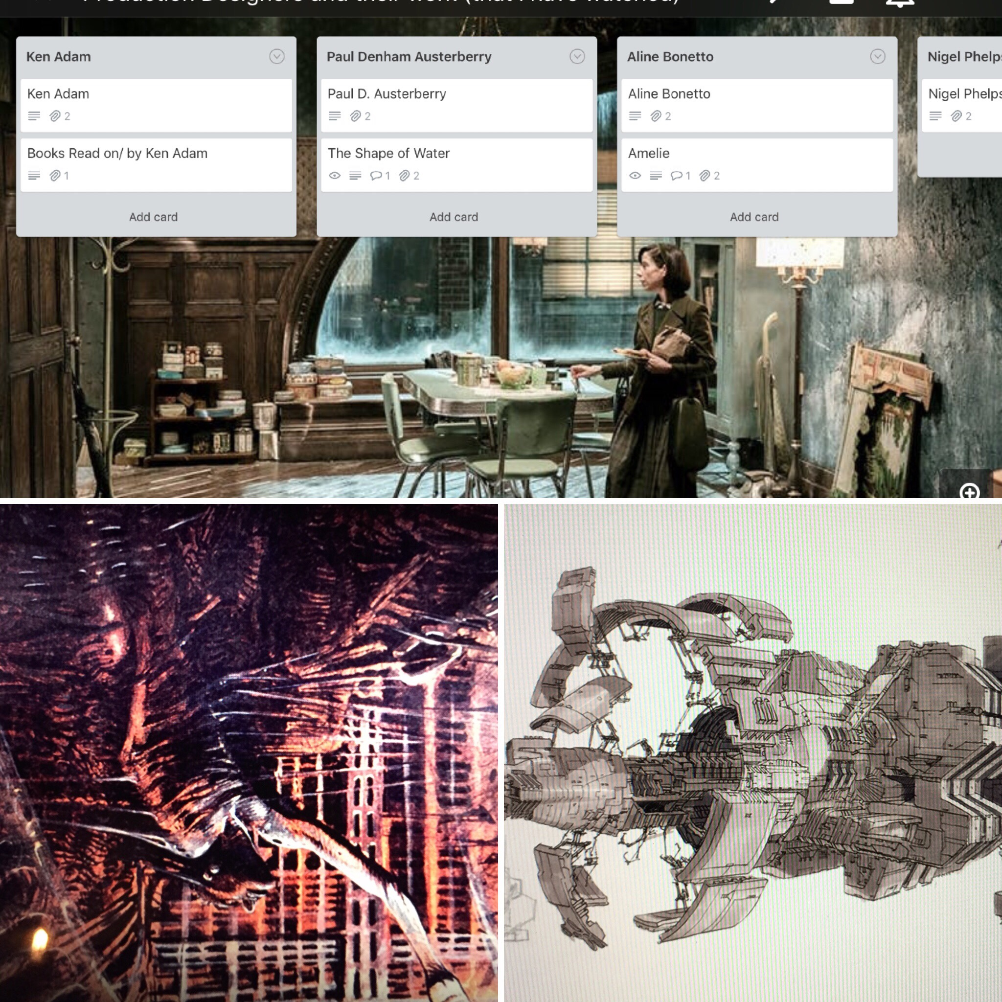 July 10/19 - Production design research on Trello and watched Alien Resurrection and extras. More work on workshop, transferring docs to iCloud from desktop.