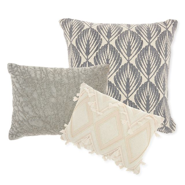 Inspired by a palm leaf, sea coral, & the natural color of sand, these 3 pillows are an eclectic mix of texture and pattern. #studionycdesign