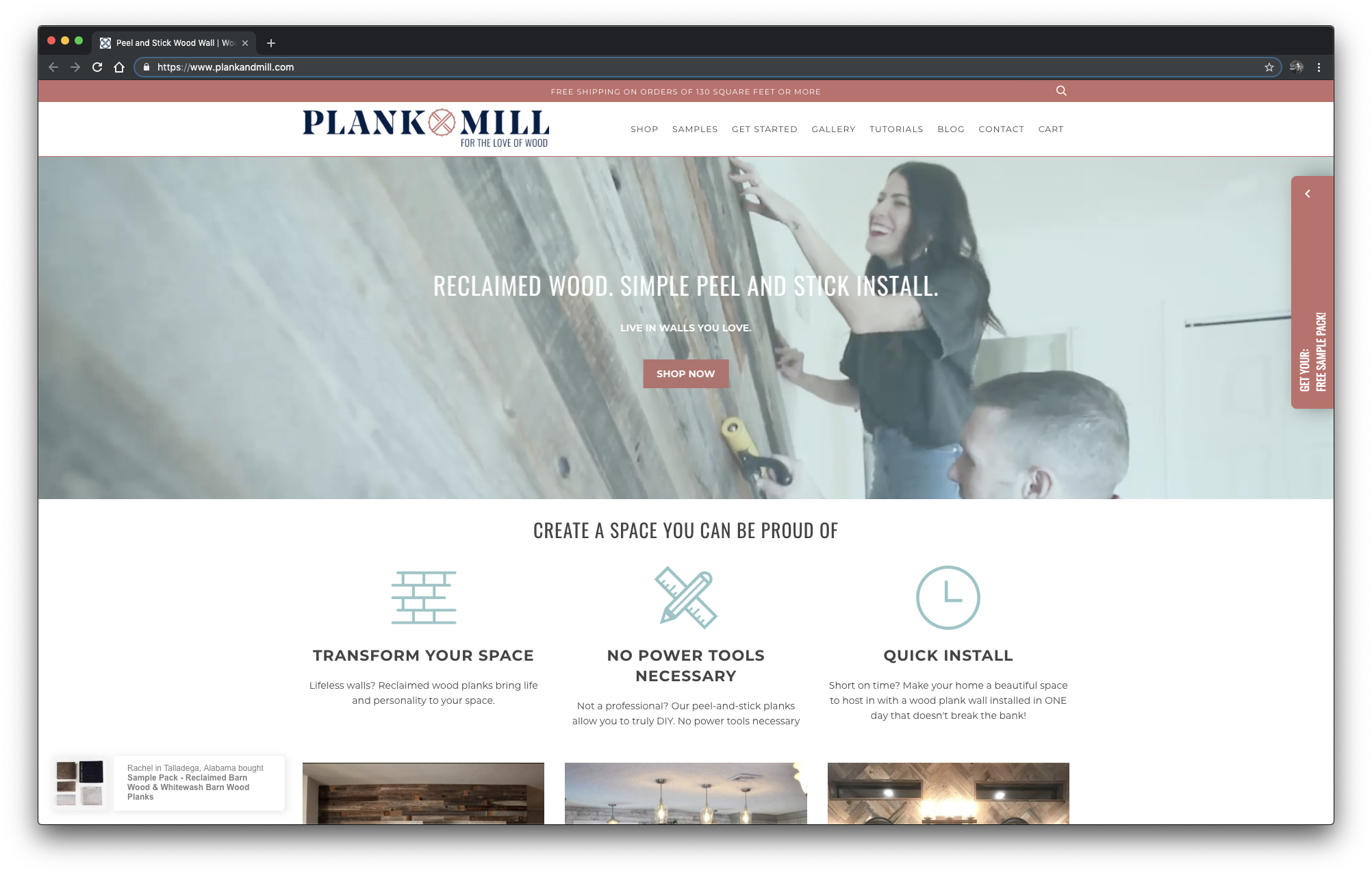 """What does    Plank and Mill    sell? Reclaimed wood that's easy to install. That's a compelling message for DIYers, and they get straight to the point. There are explanatory blurbs to expand on each headline so the user doesn't have to wonder what """"Transform your space"""" actually means. All this, without even scrolling down the page."""