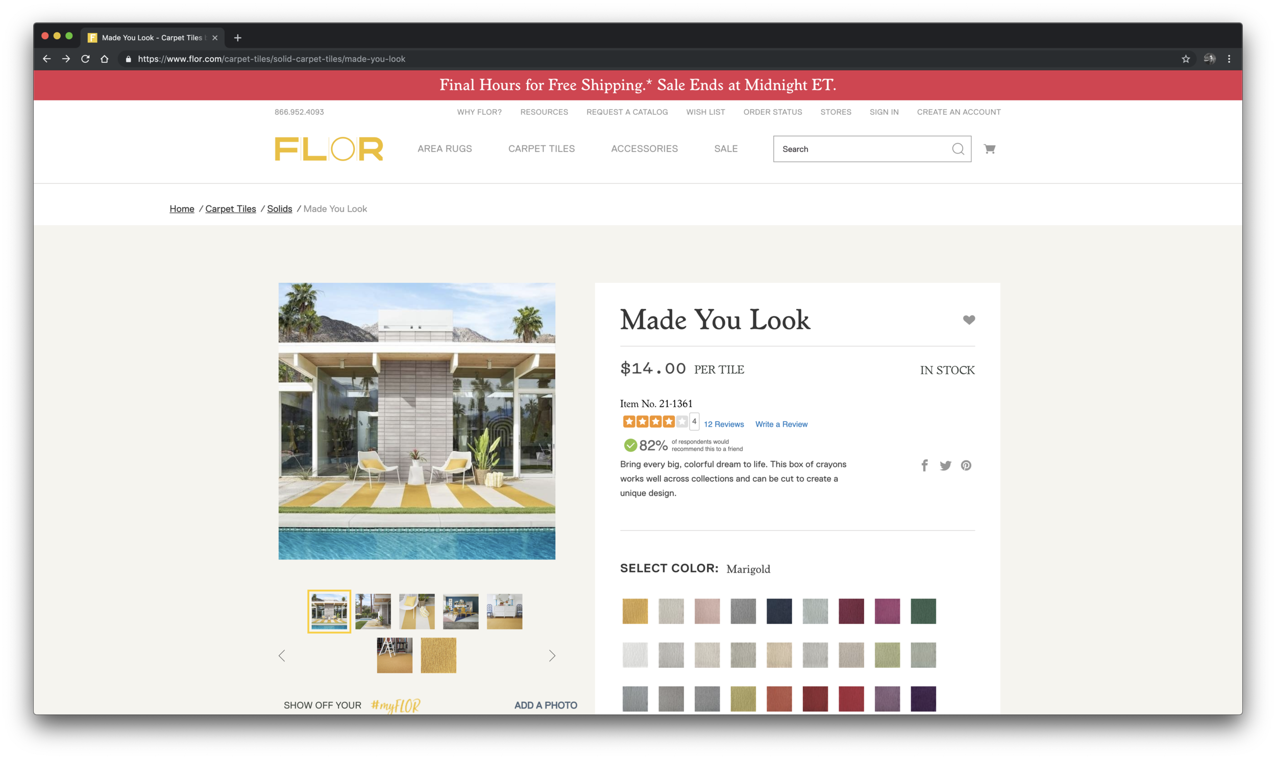 Flor's    product pages stand out in several ways. They employ multiple strategies of social proof, including ratings, reviews, and social media posts automatically pulled from instagram. They also make pricing and return information clear and easy to understand. Best yet, all of the color and ordering options are listed in one place with an interactive element following users to select their choices and see the price update accordingly.