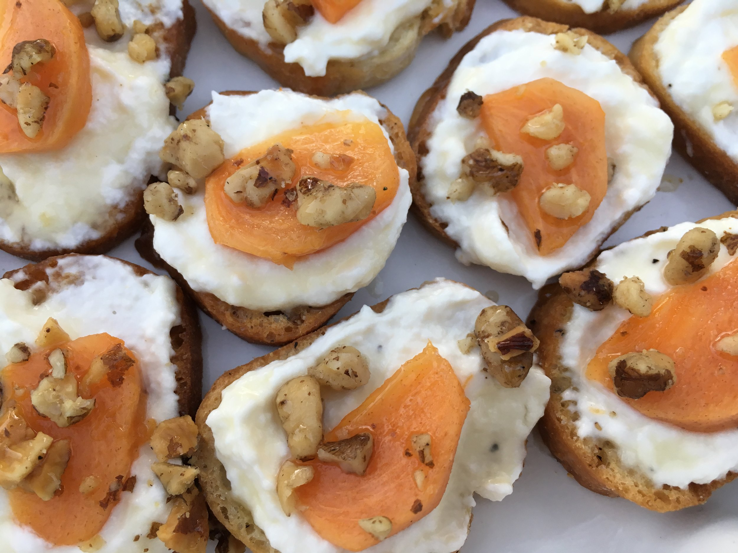 Poached Persimmon and Ricotta Toasts
