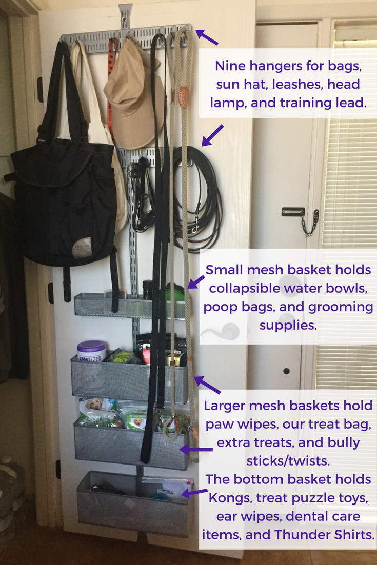 Annotated photograph explaining how I used different Elfa system pieces for different dog accessories.