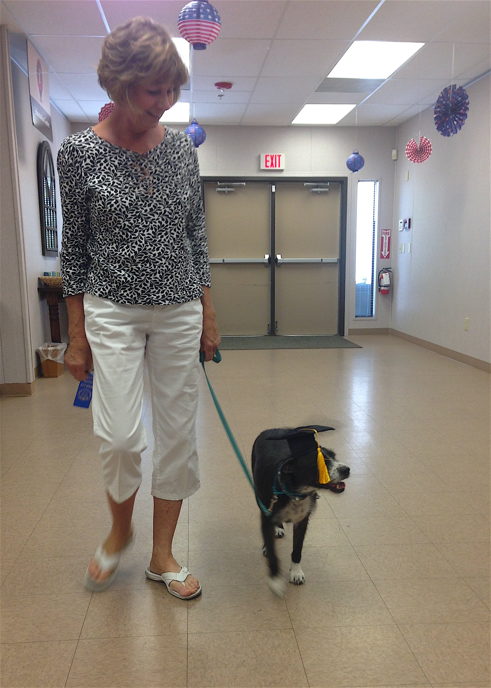Fiona and her handler take a graduation walk around the room to celebrate her new title of Canine Good Citizen.