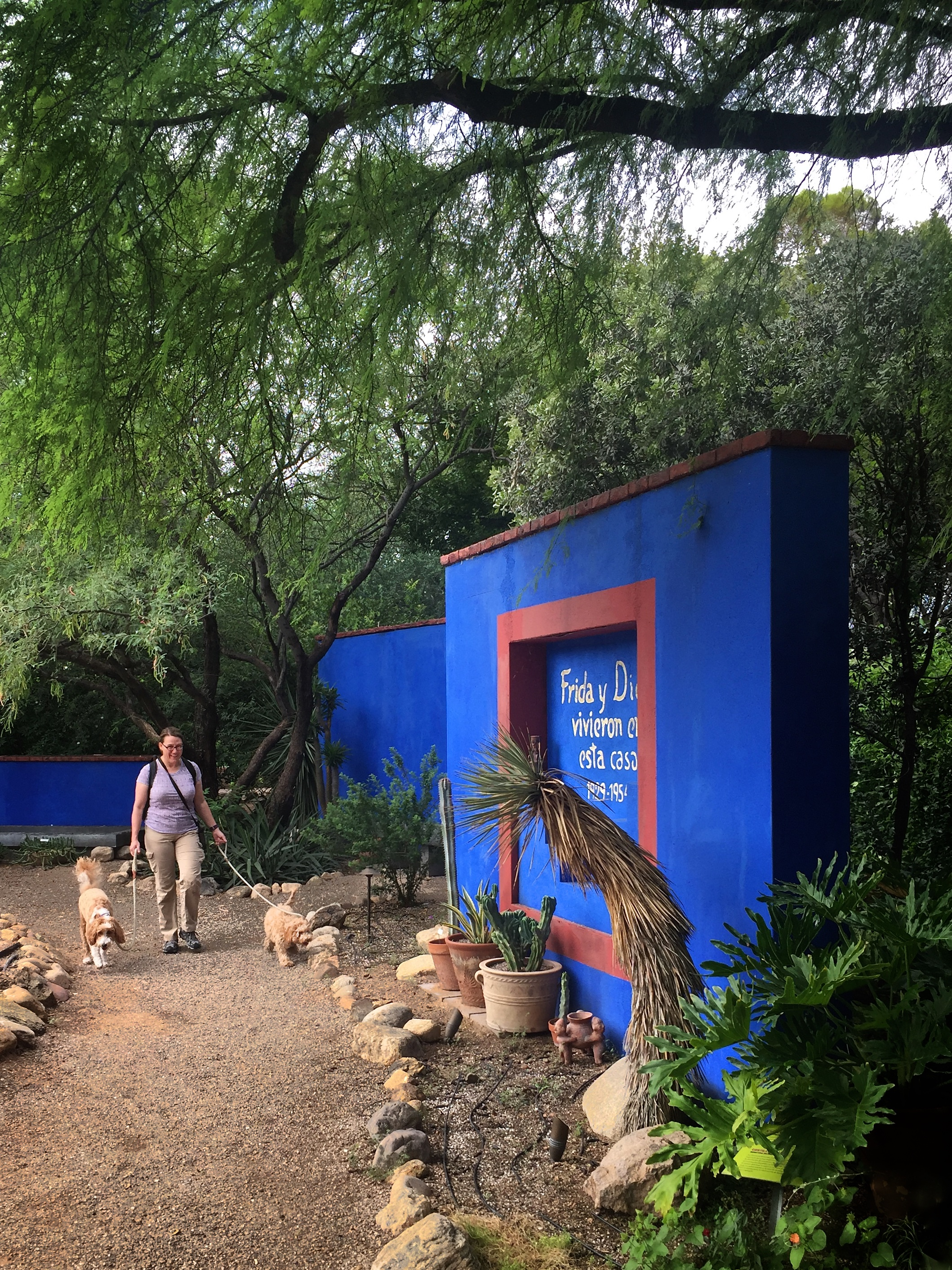 Walking along the pathways surrounding the Frida Kahlo Art Garden Life exhibit at the Tucson Botanical Gardens.