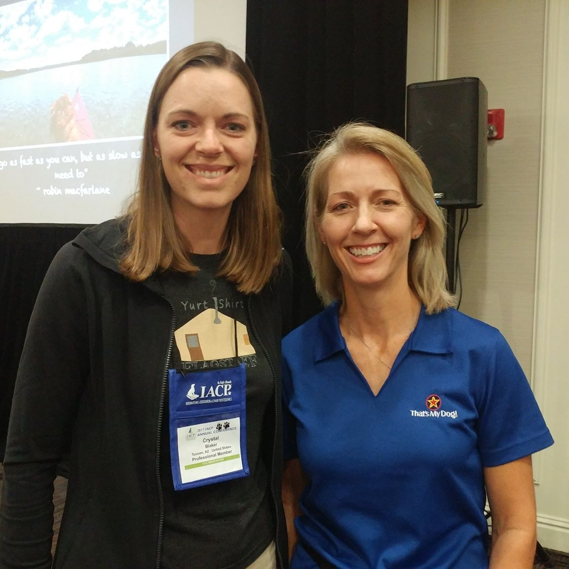 Crystal Blaker from Ruff House Dog Training & Behavior Modification meeting Robin MacFarlane at the 2017 IACP Conference in St. Louis.