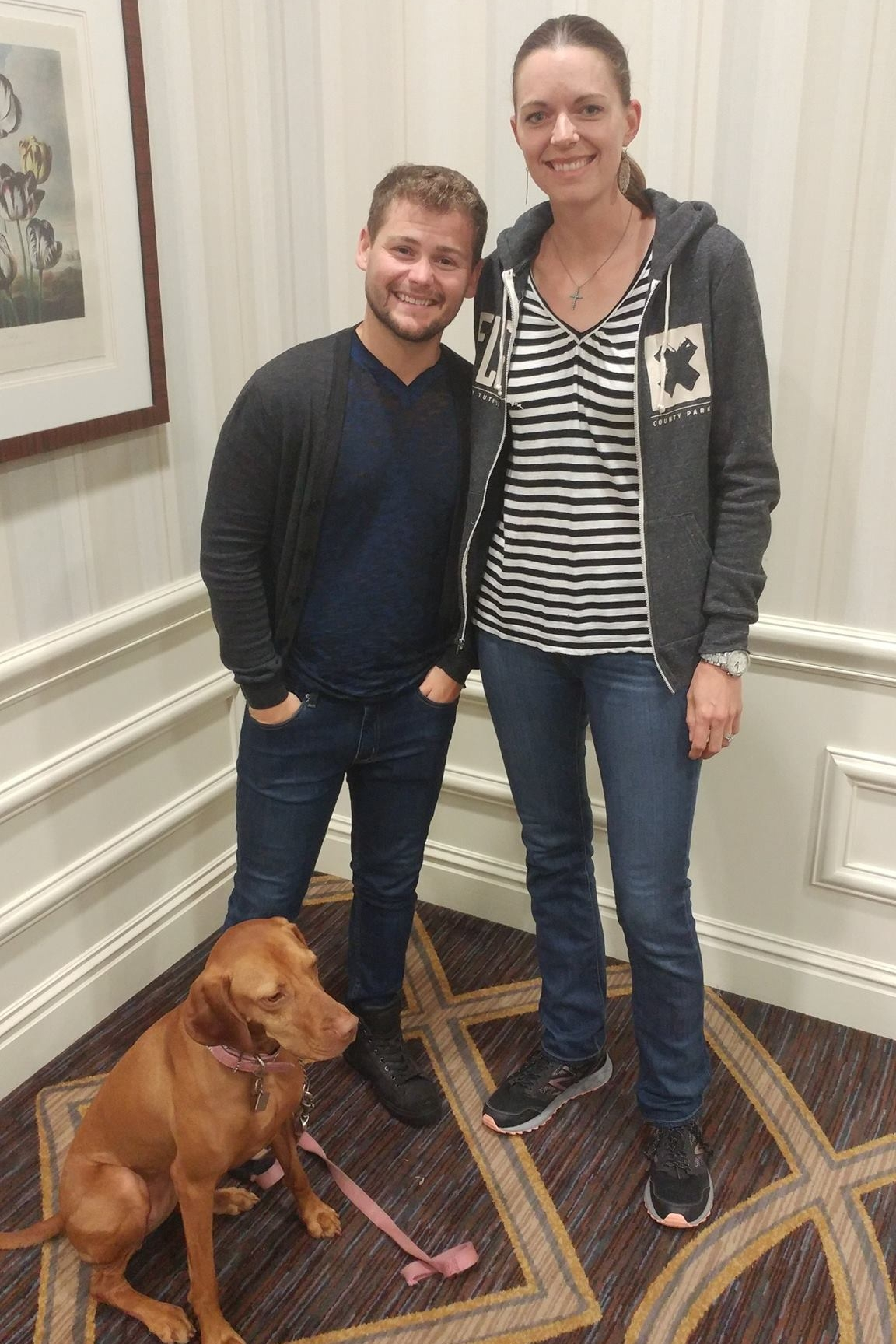 Crystal Blaker from Ruff House Dog Training & Behavior Modification meeting comedian Drew Lynch and his pup at the 2017 IACP Conference in St. Louis.