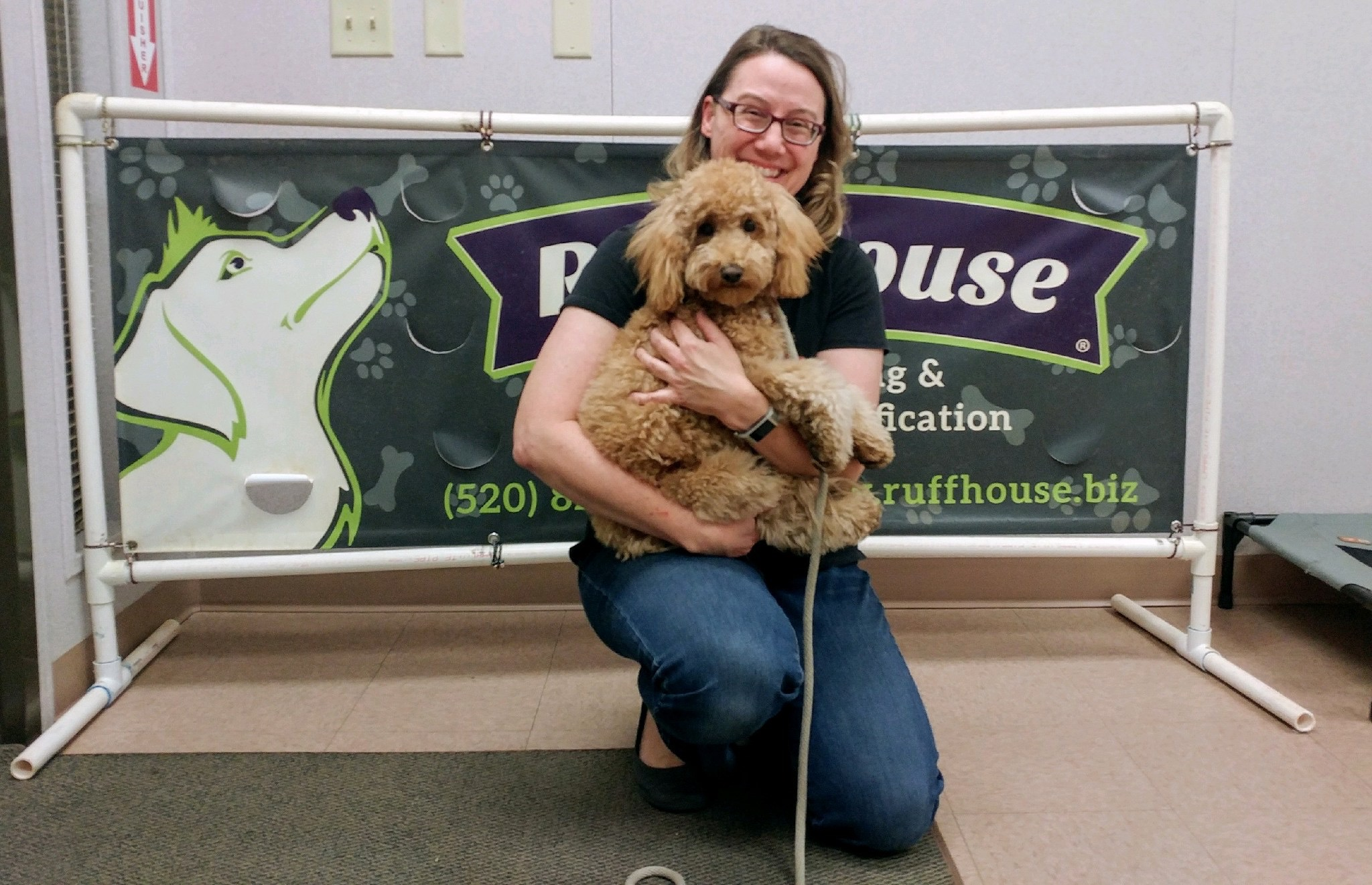 Lizzie McSquare and I graduate from Ruff House Dog Training & Behavior Modification's 8-week Puppy Obedience Class.